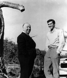 Alfred Hitchcock and Anthony Perkins on-set of Psycho (1960)
