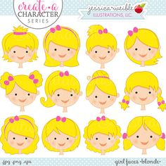Create • a • Character Series: Blonde Girl Faces. This set comes with 12 girls faces featuring different hairstyles, all in the color: BLONDE. This set is a part of a SERIES of sets that allow you to MIX & MATCH different girls hairstyles and colors with various themed bodies doing
