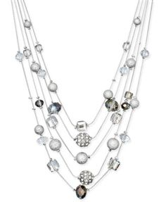 INC International Concepts Silver-Tone Mixed Bead Layer Necklace, Only at Macy's | macys.com