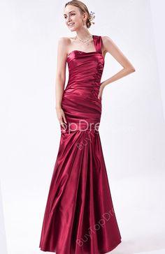 Fashionable Dark Red Satin One Straps  Fishtail Prom Dresses With Pleated Bodice #DesignerDress #CheapDress  #QuinceaneraDresses  #CocktailDress  #Fashion  #PromDress  #BatMitzvahDresses #EveningDresses #MarineBallDresses #MaxiDresses