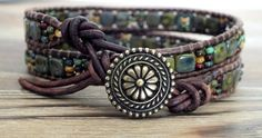 Beaded Leather Wrap Bracelet featuring ChechMates two hole tile beads, picasso beads, picasso seed beads, tierracast, czech beads