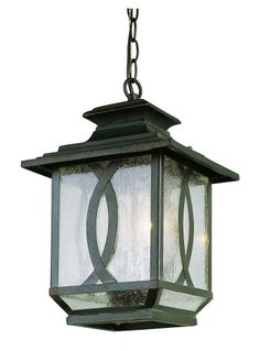 Two Light Burnished Rust Clear Seeded Glass Hanging Lantern : SKU PHQQ | Carol's Lighting