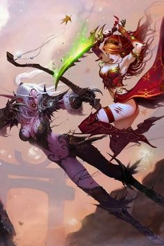 Night Elf Vs Blood Elf. Such a fantastic picture xD