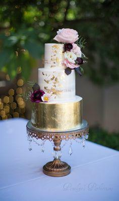 ~www.opulent treasures.com/shop|Chandelier Cake Stands|Dessert Stands|Candelabras|Chandeliers|Created by Opulent Treasures| SemiNaked Wedding Cake with Gold Leaf