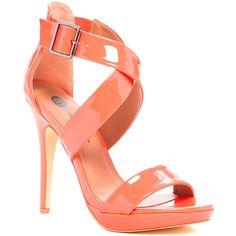 Michael Antonio Luckey Patent Heel Pump ($30) ❤ liked on Polyvore featuring shoes, pumps, open toe ankle strap pumps, platform stilettos, platform shoes, high heel stilettos and michael antonio shoes
