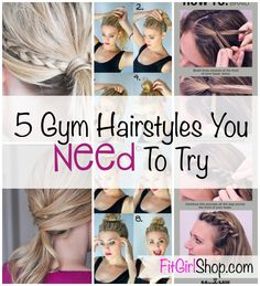 5 Gym Hairstyles.  Are your only gym hairstyles a ponytail and a ponytail with a headband?  Do you get sick of wearing your hair in a boring ponytail every time you go to the gym?  Don't worry, there are other cute and easy hairstyles you can quickly throw together for your next sweat sesh. #SexyHair #HairTips #SexySportyHair