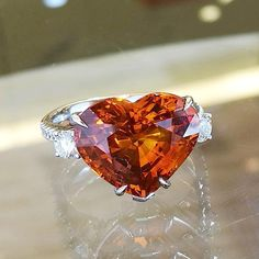 PRIMA GEMS (@wut_primagems) on Instagram: Heart shape Vivid orange sapphire Ring (10.23 ct. Sri Lanka/GRS)