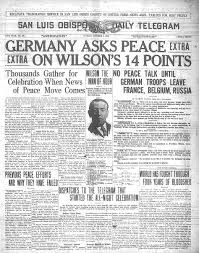 14 points- a statement of principles for world peace that was to be used for peace negotiations in order to end World War I. The principles were outlined in a January 8, 1918 speech on war aims and peace terms to the United States Congress by President Woodrow Wilson.