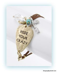 """Guitar Pick """"Hide Your Crazy"""" Bracelet  """"Run and hide your crazy and start acting like a lady"""".  Shoppingbuyfaith.com hideyourcrazy"""""""