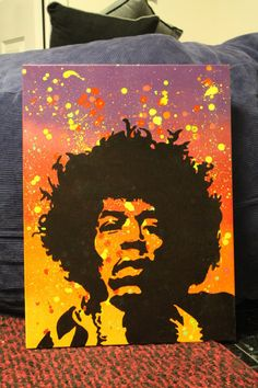 Jimi Hendrix Stencil Painting by JambiCanvasArt on Etsy