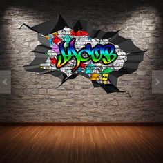 Personalized / Customized Name Graffiti Wall Decals Stickers Brick Concrete Cracked Hole Printed Mural Colour Adhesive Childrens Wall Decals, 3d Wall Decals, Removable Wall Stickers, Framed Wall Art, Wall Murals, Personalized Wall Decals, Graffiti Wall, Graffiti Bedroom, Graffiti Designs