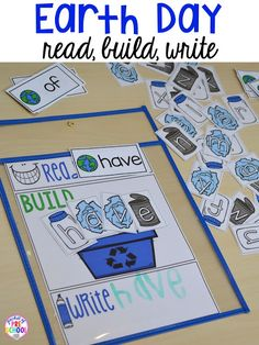 Earth Day read, build write sight words. Plus FREE Earth Day vocabulary posters! Perfect for preschool, pre-k, or kindergarten.