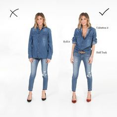 How to wear double denim! If we are talking about a vacation or a short term trip, I always put at least one of my jean outfits to my suitcase. As you know that, they are timeless Mode Outfits, Jean Outfits, Fall Outfits, Fashion Outfits, Womens Fashion, Fashion Fashion, Short Girl Fashion, Denim Fashion, Size 12 Fashion
