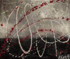 """""""Sacrifice""""  Tableau réalisé à la peinture acrylique, Modeling past au centre avec des paillettes argentées.... A retrouver et disponible à la vente sur mon site internet : celine-farnier.wix.com/enola69"""