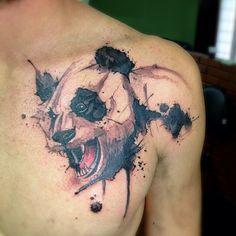 Panda (angry panda? laughing panda?) tattoo - Victor Octaviano