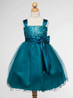 Teal Tulle and Satin Sequined Flower Girl Dress Wedding Ideas, Fall Wedding, Fall Colors, Jewel tones, Teal wedding bridesmaids, Blue-green colors, Green and dark cyan, Blue ocean, Maxi teal, Blue peacock wedding colors.