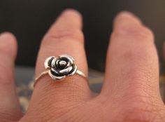 Rose engagement ring Black rose ring in sterling by DvoraSchleffer, $29.00