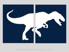 T-Rex Dinosaur Set of 2 Canvases or Art Prints by twenty3stars