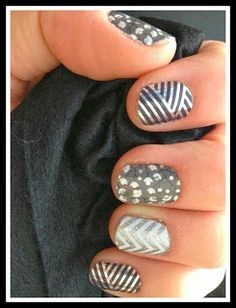 Metallic Silver, Grey, and White Jamberry Wraps Manicure Cindi Bigelow-Jamberry Nails Independent Product Consultant