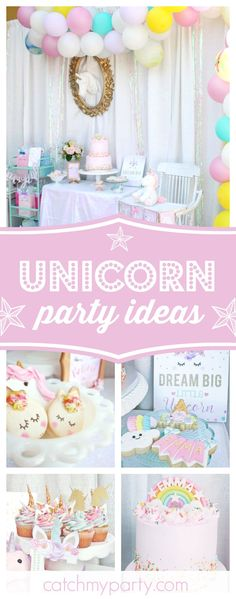 Don't miss this magical unicorn birthday party. The unicorn decorated macarons are adorable!! See more party ideas and share yours at CatchMyParty.com