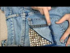 How to make frayed STUDDED high waisted shorts DIY