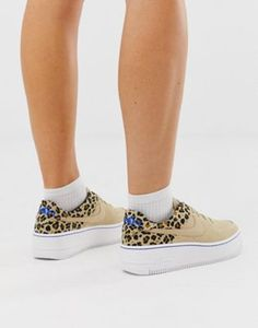 buy popular 5ce61 87b5e Nike Leopard Print Air Force 1 Sage trainers