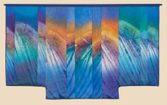 """""""Torrent,"""" Shibori dyed, discharged, pieced, quilted and appliqued kimono shaped wall hanging by Judith Content"""