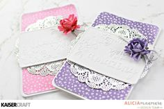 Kaisercraft 'Wildflower Embossed' Cards by Alicia McNamara DT member. Created using new Kaiser March 2017 products Wildflower collection & 'You are Amazing' & 'Thank you' Embossing Folders & Mini Paper Flowers. Learn more at kaisercraft.com.au/blog ~ Wendy Schultz ~ Cards 1.