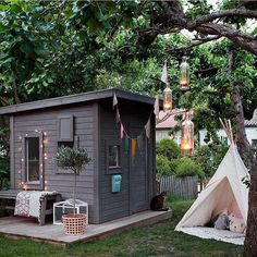 Adorable 80 Incredible Backyard Storage Shed Makeover Design Ideas homevialand. Outside Playhouse, Backyard Playhouse, Build A Playhouse, Playhouse Ideas, Modern Playhouse, Playhouse Interior, Outdoor Playhouses, Outdoor Sheds, Cubby Houses