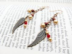 Christmas Present Idea -- fo realz, yo.    Vintage Inspired Copper Angel Wings with Red by TheTripleJewel, $20.00