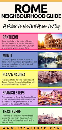 One of the most amazing cities to visit in Italy! Get the best tips on the best areas to stay in Rome for first time visitors, for nightlife, tourist sights and for views. With tips on hotels on budge and luxury in each area. #traveltips #rome #spanishsteps #jewishgehetto #trastevere #piazzanavona #vacation #europe