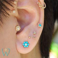 Ear cuff - Cartilage earring - Ear climber - Flower earrings - Bridal earrings - Earcuff - Gold ear cuff - Ear cuff no piercing - Ear wrap - Custom Jewelry Ideas Helix Earrings, Bar Stud Earrings, Cartilage Earrings, Gold Hoop Earrings, Crystal Earrings, Ear Piercings, Ear Jewelry, Helix Jewelry, Fine Jewelry