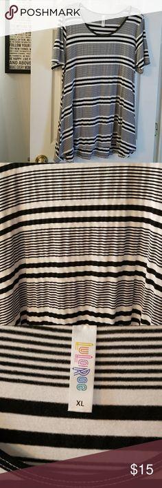 Lularoe Perfect T, XL Lularoe Perfect T, XL. Black and white striped.  GUC, minimal piling LuLaRoe Tops