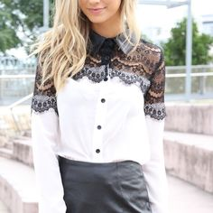 Sabo Skirt white shirt with black lace Sabo Skirt white shirt with black lace and leather collar.  Australian sizes run a bit smaller! no trades please. Sabo Skirt Tops Button Down Shirts