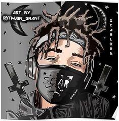 Scarlxrd , the masked ken kaneki in the music industry artwork merch& Dope Cartoon Art, Dope Cartoons, Arte Hip Hop, Hip Hop Art, Black Cartoon Characters, Naruto, Rapper Art, Pokemon, Dope Art
