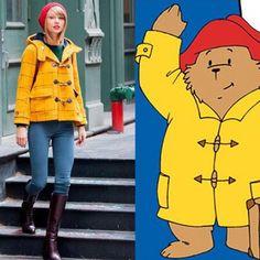 Paddington Bear, Raincoats For Women, Jackets For Women, Taylor Swift Funny, Running In The Rain, Bear Coat, Yellow Coat, Red Hats, Shorts