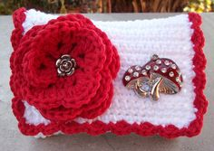 Red and White with Mushrooms Crocheted Cotton Little by nenafaye, $12.00