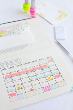 use washi to make note of marc's travel schedule on the calendar ... seeing all those colors every month might take the bite out of the reality of all those days he'll be gone ...