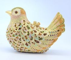 送料無料! ユニークな鳥の形金の財布ファッションクリスタルイブニングクラッチバッグパーティーバッグスワロフスキーs08124