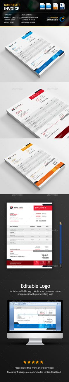 A Huge Set Of Printable Business Templates Including: Invoice