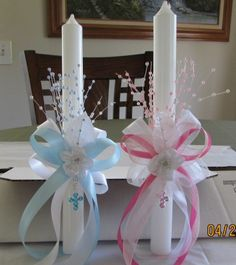 New Gift Special Occasion Handmade Baptism Christening Flower Cross Candle Set