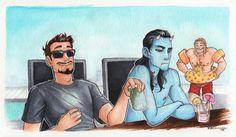 Tony, Loki isn't comfortable as a Jotun on a hot day!