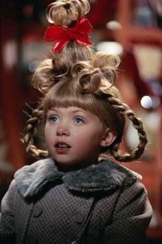 """Cindy Lou Who (played by Taylor Momsen), Christmas Hair from """"How The Grinch Stole Christmas"""" Cindy Lou Who Hair, Cindy Lou Who Costume, Cindy Who, Whoville Costumes, Whoville Hair, Seussical Costumes, Xmas Costumes, Who From Whoville Costume, Dr Seuss Costumes"""