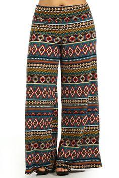Plus Size Summer Tribal Wide Leg Fold Over High Waist Palazzo