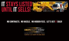 ASPHALT and PAVING CONTRACTORS FREE UP CAPITAL and FREE UP SPACE  IRONMARTONLINE WILL SELL YOUR OLD EQUIPMENT. CONTACT JAY TODAY, 973-886-3020 Paving Contractors, Heavy Equipment For Sale, Heavy Construction Equipment, Trucks For Sale, Internet Marketing, Jay, Let It Be, Space, Free