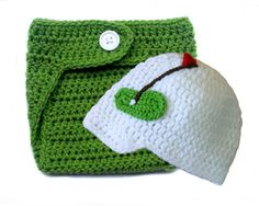 This adorable hat and diaper cover set is hand crocheted for your little pro. The hat and diaper cover are made of soft acrylic yarn. **Socks sold