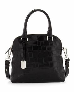 "Victoria Small Dome Satchel, Onyx by Furla  •Crocodile-embossed leather with silver hardware. •Tote handles; 4"" drop; removable shoulder strap, 17"" drop. •Dome zip top. •Logo key chain hangs from handle. •Inside, one zip and one open pockets. •Logo jacquard lining. •Metal feet protect bottom of bag. •9 12""H x 10""W x 4 1/2""D; weighs 1lb. 3oz. •Imported."