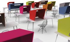 """BuzziCockpit from BuzziSpace.  Gives you the flexibility of creating ad hoc """"carrels"""" rather than having them permanently installed. http://www.buzzispace.com/products/buzzicockpit/"""