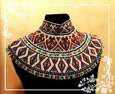 Силянка особиста святкова, трьохрядна. African Necklace, African Jewelry, Tribal Necklace, Collar Necklace, Turquoise Tassel Earrings, Beaded Collar, Neck Piece, Diy Jewelry Making, Jewelry Patterns