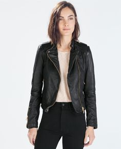 Image 2 of LEATHER BIKER JACKET from Zara -- maybe it will go way on sale one day?